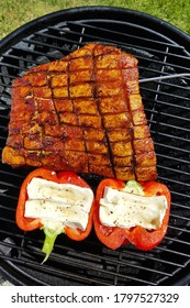 good Tasty grilled meat on a grill plate