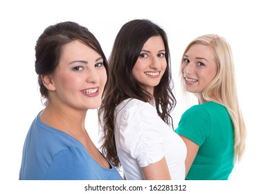 Good team work - happy trainees in a row isolated on white background - young  women