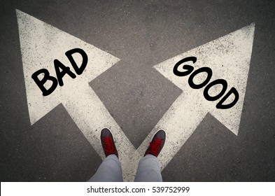 GOOD versus BAD written on the white arrows, dilemmas concept.