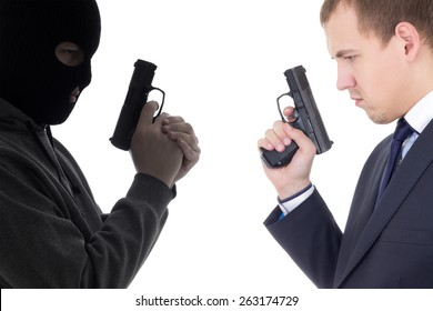 good vs evil concept - terrorist and police man with guns isolated on white background