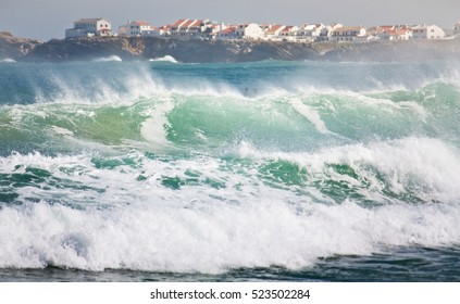 Good waves for surfing, Baleal, Peniche, Portugal.
