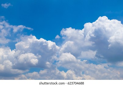 Good weather and Blue sky background with clouds. white fluffy cloudy abstract background.