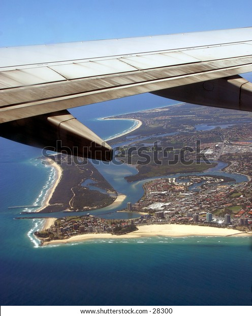 Goodbye Coolangatta - the last sight of Queensland from the air...