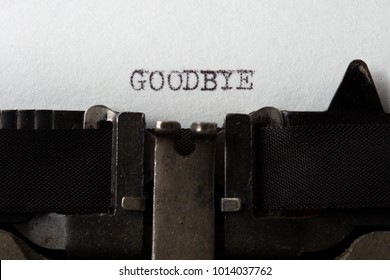 Goodbye - text message on the typewriter close-up