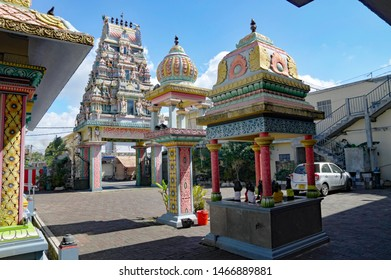 GOODLANDS/MAURITIUS - AUGUST 15, 2018: The one of the most beautiful Hindu temple in Mauritius - Siva Soopramaniar Kovile Bel-Air Riviere Seche