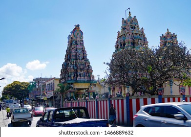 GOODLANDS/MAURITIUS - AUGUST 15, 2018: Streetlife in Goodlands - town famous for its authenticity with one of the most beautiful Hindu temple-Siva Soopramaniar Kovile Bel-Air Riviere Seche