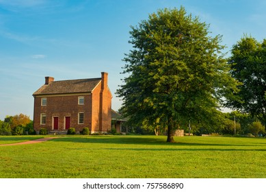 GOODLETTSVILLE, TN - AUGUST 22, 2017: The Bowen Plantation House, in Moss Wright Park near Nashville, dates to around 1787 and is a careful restoration with more than 70 percent original material.