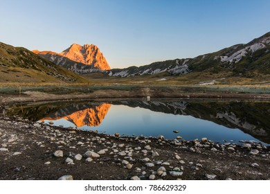 Goodmorning in the mountain of Gran Sasso National park, in Abruzzo, with Corno Grande in the background, the main peak of the massif