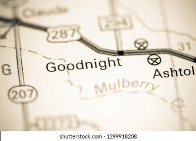 Goodnight. Texas. USA on a map