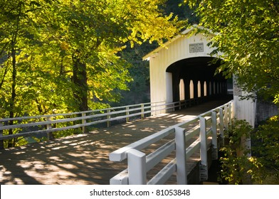 The Goodpasture covered bridge is one of the best-known in Lane County, Oregon, and crosses the McKenzie River east of Eugene.