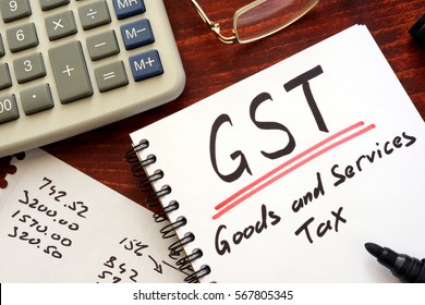 The goods and services tax  (GST) written in a note.