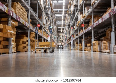 Goods shelves of warehouse handling management, Products storehouse interior and distributor shopping mall., Business cunsumer service