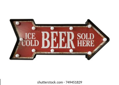 Goods sold food and drink sign board with light bulb, arrow shape isolated on white background, vintage style