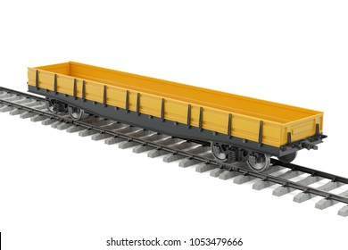 Goods wagon on the railway, 3D rendering isolated on white background