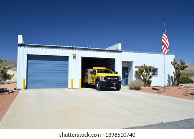 Goodsprings Nevada USA April Second 2018. Goodsprings Volunteer Fire department Of Clark County Nevada's Firehouse With Fire engine Pulling Out On The Front Ramp