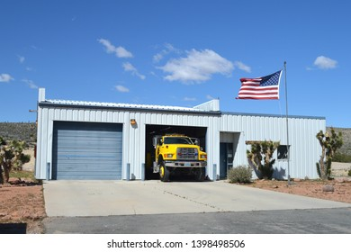 Goodsprings Nevada USA February third 2017. Goodsprings Volunteer Fire Department Of Clark County Nevada's Firehouse With Fire Engine Pulling Out On The Front Ramp.
