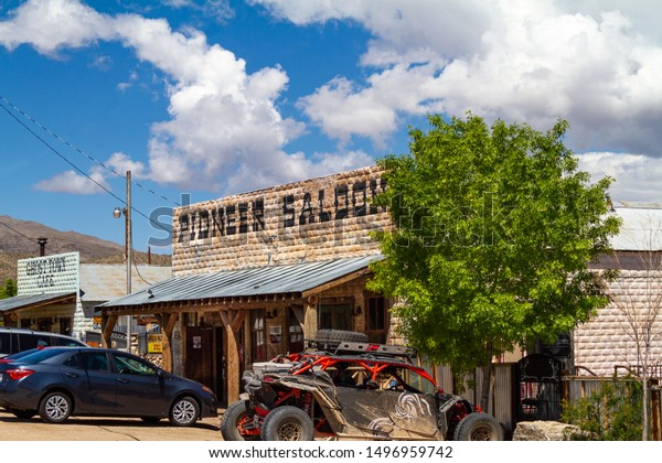 Goodsprings, NV / USA – May 11, 2019: Located in the desert town of Goodsprings, the Pioneer Saloon is one of Nevada's oldest buildings and featured in many movies.