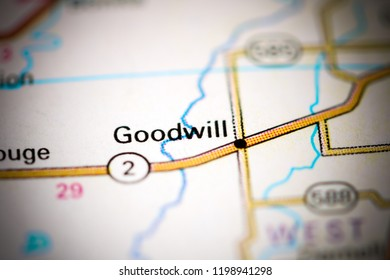Goodwill. Louisiana. USA on a map