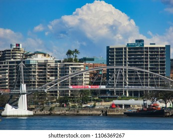 The Goodwill pedestrian and cyclist bridge spanning the river between the South Bank Parklands and Gardens Point in the CBD in Brisbane QLD Australia September 20 2014