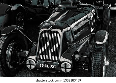 Goodwood, East Sussex, UK - September 08 2018: A 1930's Talbot Lago T23 track car on display at Goodwood Revival 2017