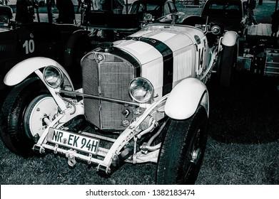 Goodwood, East Sussex, UK - September 08 2018: A 1920's MercedesBenz 710 SSK track car on display at Goodwood Revival 2017