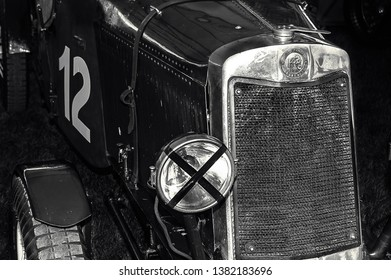 Goodwood, East Sussex, UK - September 08 2018: A  1920's Lea Francis roadster - a 2 seater sports car. on display at Goodwood Revival 2017