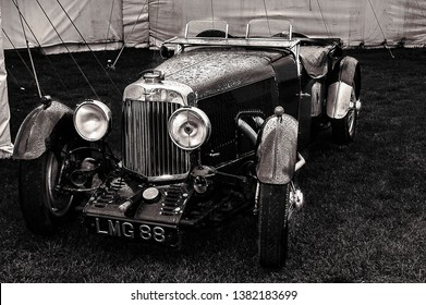 Goodwood, East Sussex, UK - September 08 2018: A 1934 Aston Martin convertible sports car on display at Goodwood Revival 2017