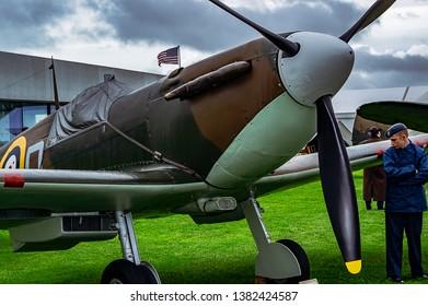 Goodwood, East Sussex, UK - September 08 2018: A 1940 Supermarine Spitfire 1A on static display at Goodwood Revival