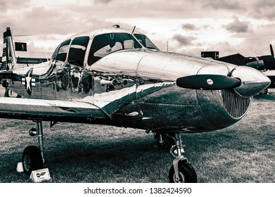 Goodwood, East Sussex, UK - September 08 2018: A 1947 North American L-17A Navion on static display at Goodwood Revival