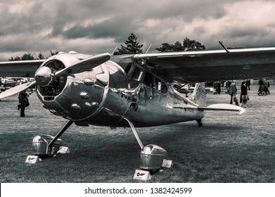 Goodwood, East Sussex, UK - September 08 2018: A 1949 Cessna 195 Businessliner on static display at Goodwood Revival