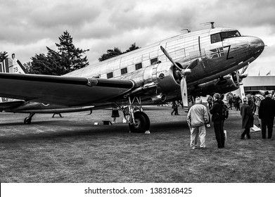 Goodwood, East Sussex, UK - September 08 2018: A 1942 Douglas  C53 Dakota  on static display at Goodwood Revival