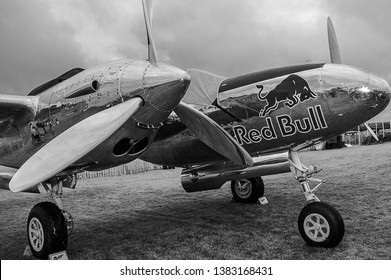 Goodwood, East Sussex, UK - September 08 2018: A 1944 Lockheed P-38 Lightning on static display at Goodwood Revival