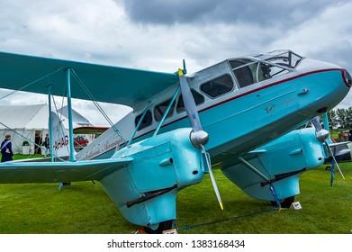 Goodwood, East Sussex, UK - September 08 2018: A 1945 De Havilland DH 89 Dragon Rapide on static display at Goodwood Revival