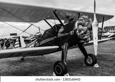 Goodwood, East Sussex, UK - September 08 2018: A 1943 Boeing Stearman B75 on static display at Goodwood Revival