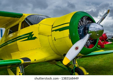 Goodwood, East Sussex, UK - September 08 2018: A 1937 Beech D17-S Staggerwing on static display at Goodwood Revival