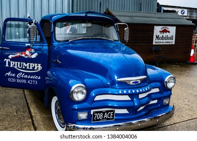 Goodwood, East Sussex, UK - September 08 2018: A 1955 Chevrolet  Pick up truck on display at Goodwood Revival