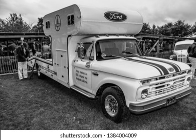 Goodwood, East Sussex, UK - September 08 2018: A 1966 Ford F250 Shelby race car transporter on display at Goodwood Revival
