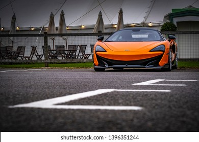 GOODWOOD, ENGLAND - APRIL FRIDAY 5, 2019: Mclaren parked up on the eve of the Goodwood Members Event event 5th April 2019 at the Goodwood Circuit, England, UK