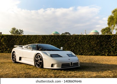 Goodwood, England - July 2018: Bugatti EB110 GT attending annual Goodwood Festival of Speed event. Only 84 of these supercars were produced in the 1990s.