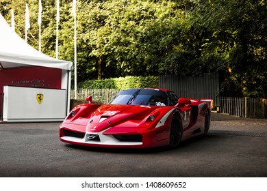 Goodwood, England - July 2018: Ferrari FXX supercar attending annual Goodwood Festival of Speed event. Pictured is the arrival of the Italian track focused car at the supercar paddocks.