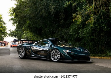 Goodwood, England - July 2018: One-off special commission McLaren P1 GT supercar attending annual Goodwood Festival of Speed event. The car was build from standard McLaren P1.