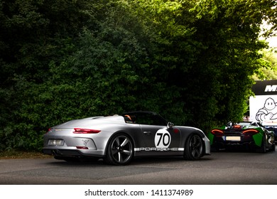 Goodwood, England - July 2018: Porsche 911 Speedster Concept supercar attending annual Goodwood Festival of Speed event. The car was made specifically for 70th Anniversary of Porsche in 2018.