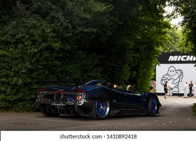 Goodwood, England - July 2018: Unique Pagani Zonda HP Barchetta supercar attending annual Goodwood Festival of Speed event. Only 1 example of this car exists, with plans for 2 more to be build.