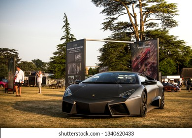 Goodwood, England - July 2018: Very rare stealthy Lamborghini Reventon parked at Goodwood Festival of Speed event. Only 20 of these Italian supercars were made.