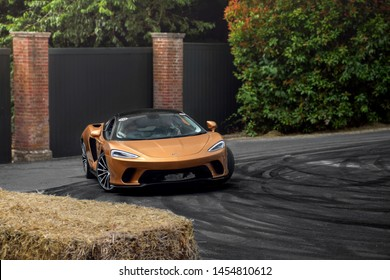 Goodwood, England - July 2019: brand new McLaren GT supercar making its dynamic debut at an annual Goodwood Festival of Speed event. The new British car is a comfortable and fast grand tourer.