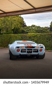 Goodwood, England - July 2019: classic racecar Ford GT40 chassis 1075, which has famously won 24 Hours of Le Mans race twice, in 1968 and 1969, attending annual Goodwood Festival of Speed.