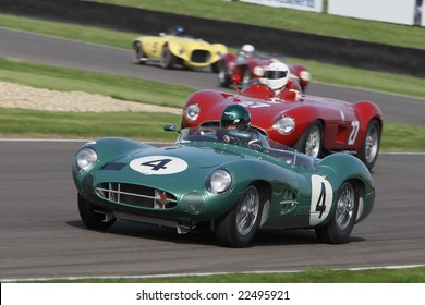GOODWOOD, ENGLAND - SEPTEMBER 20, 2008: Unidentified drivers competing in classic sportscars at the Goodwood Revival event 20 September 2008 at the Goodwood Circuit, England, UK