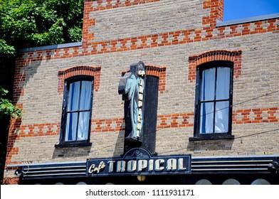 Goodwood, Ontario, Canada, June 11, 2018:  Cafe Tropical a fictional restaurant featured in Schitt's Creek.