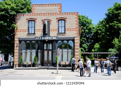 Goodwood, Ontario, Canada, June 11, 2018:  On location filming at Cafe Tropical a fictional restaurant featured in Schitt's Creek.