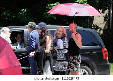 Goodwood, Ontario, Canada, June 11, 2018: On location `Schitt`s Creek` film rehearsal featuring Canadian-American actress, Catherine O`Hara.